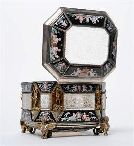 Antique Viennese Rock Crystal Enameled Silver Box
