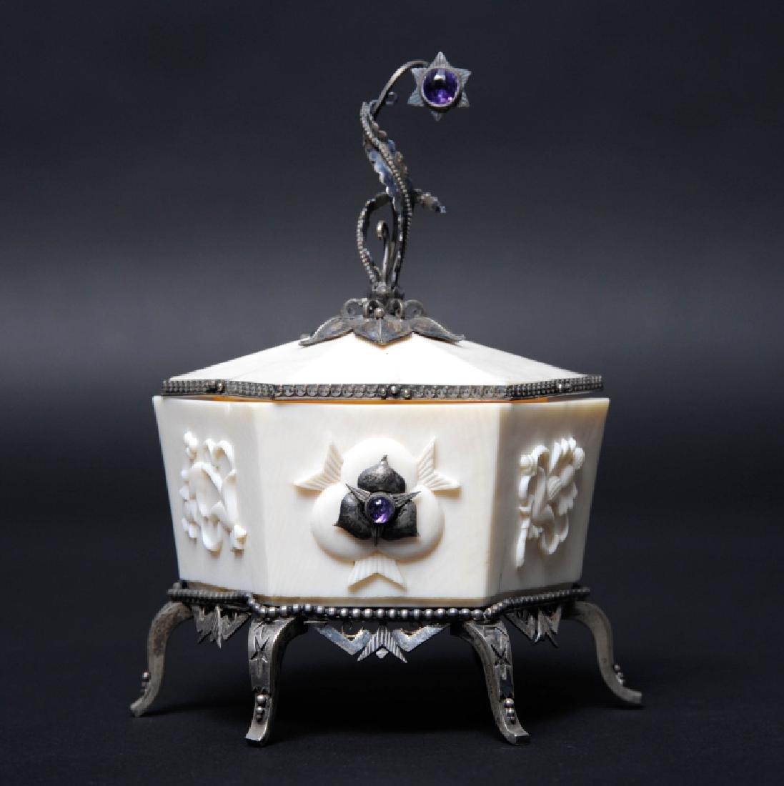 Antique Art Nouveau 935 Silver Mounted Box Molnar