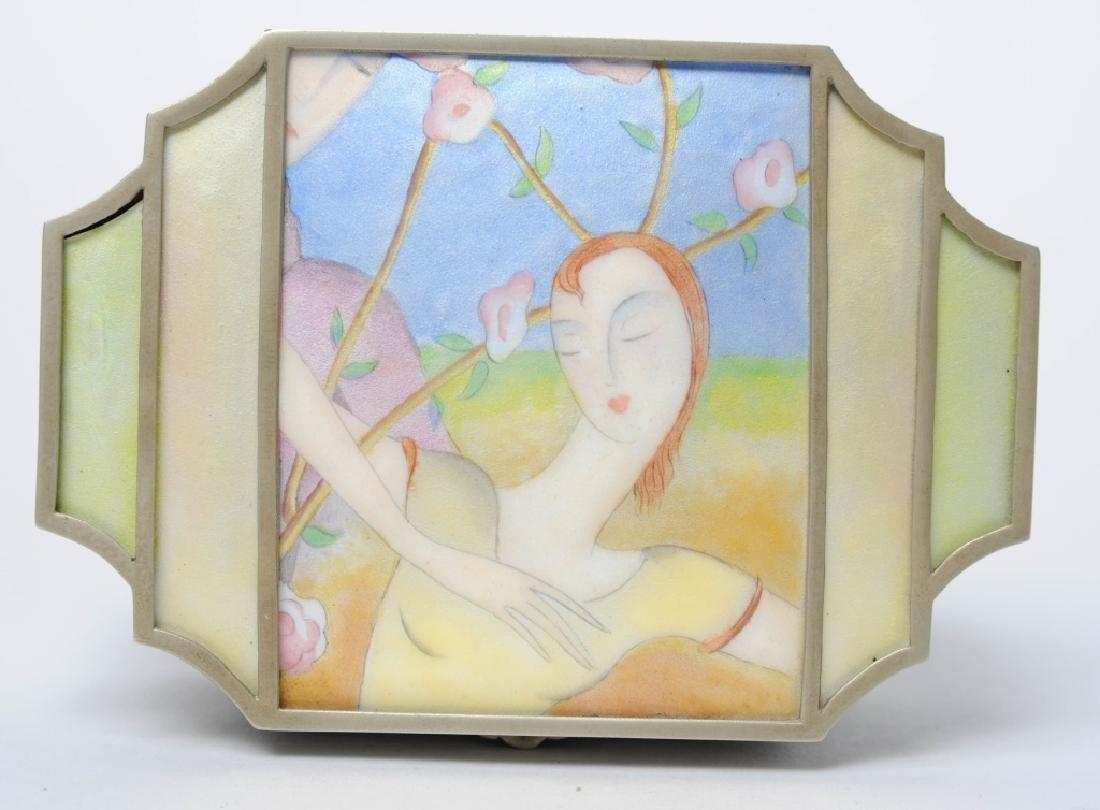 B Altman Art Deco Portrait Enaeml Trinket Pill Box
