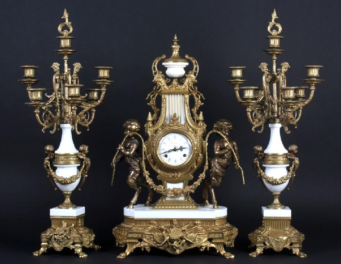 Ornate Imperial White Marble Clock Garniture Set