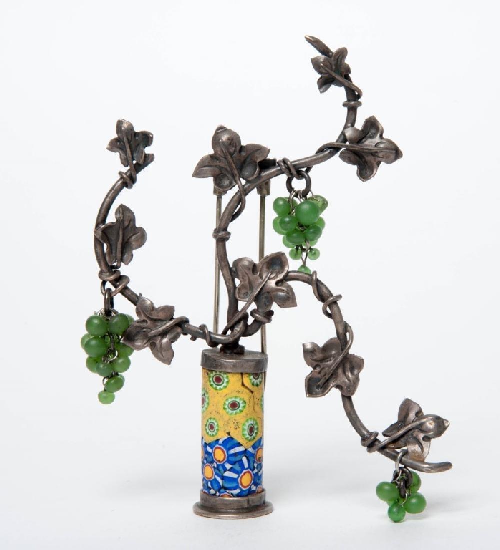 Antique Art Deco Sterling Silver Ivy Pot Fur Clip
