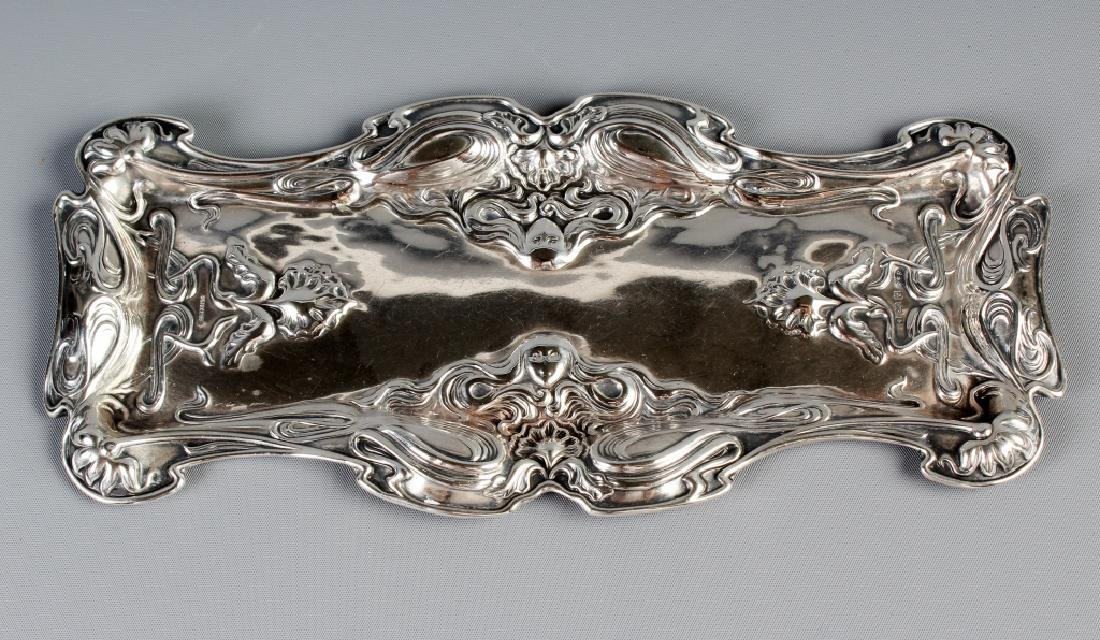 English Art Nouveau Maiden Head Silver Pen Tray