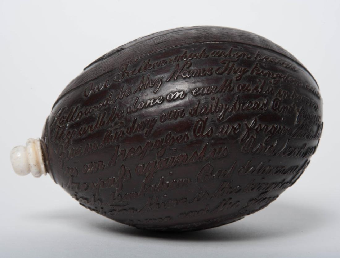 Ship Carved 1895 Coconut Shell Lords Prayer Flask