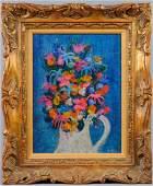 Gustav Likan Floral Still Life Oil Board Painting