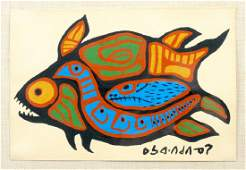 Norval Morrisseau Fish Acrylic On Paper Painting