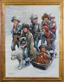 Barry Leighton Jones Children Oil Canvas Painting