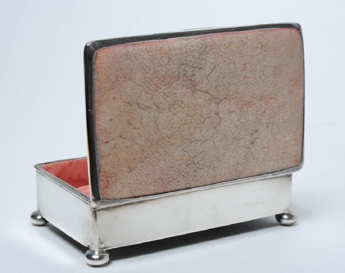 English Art Deco Sterling Silver Pink Shagreen Box