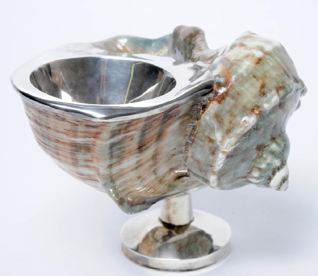 FINE Sterling Silver Mount Spiral Conch Shell Bowl