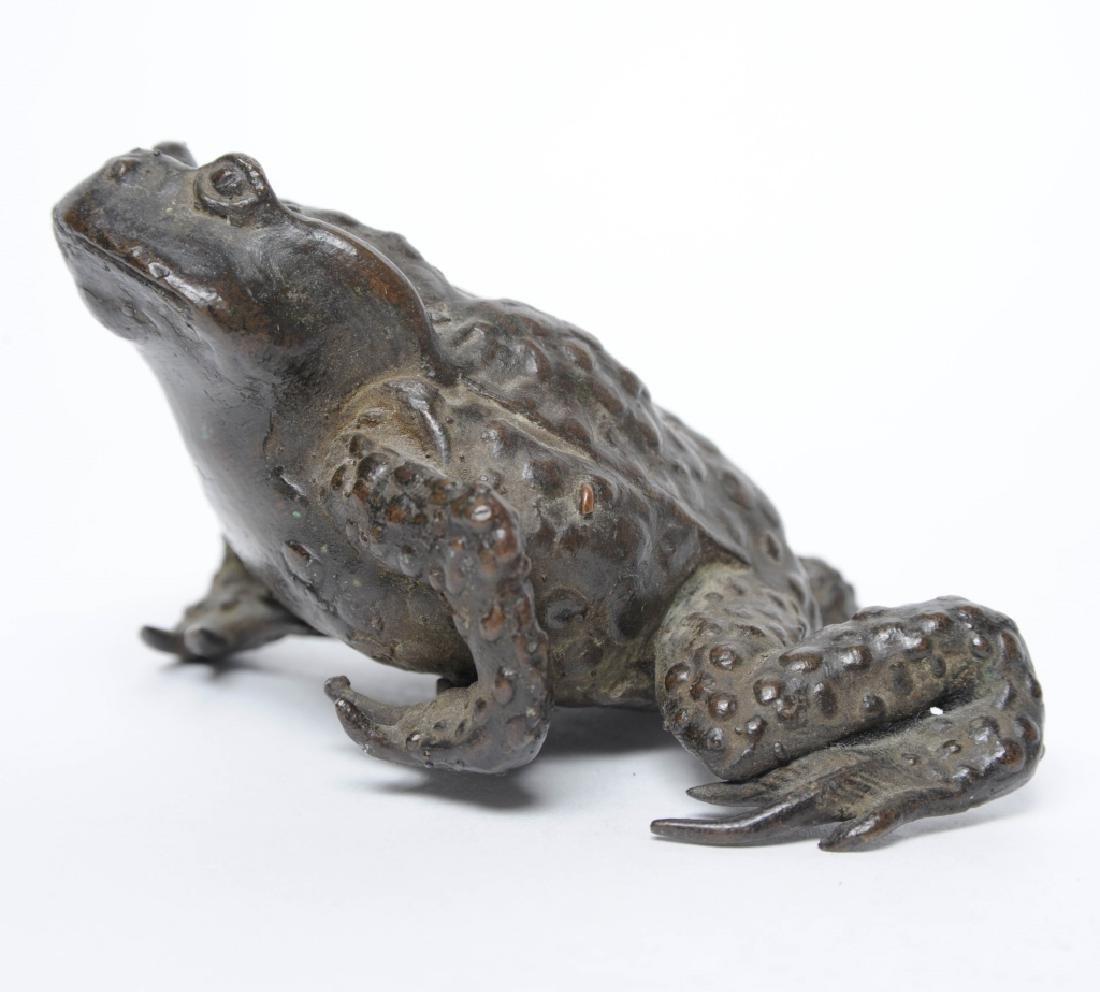 Antique Japanese Meiji Period Bronze Toad Figurine