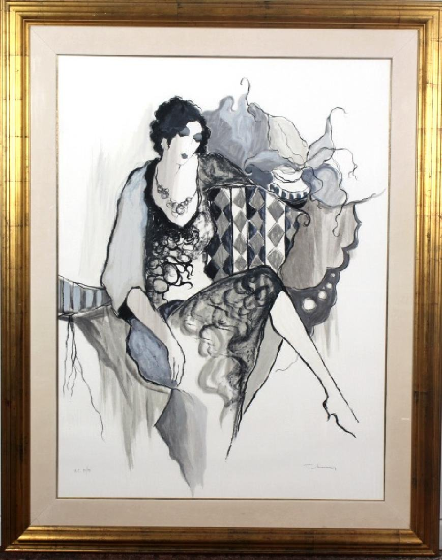 Large Itzchak TARKAY Lady In Black HC Serigraph