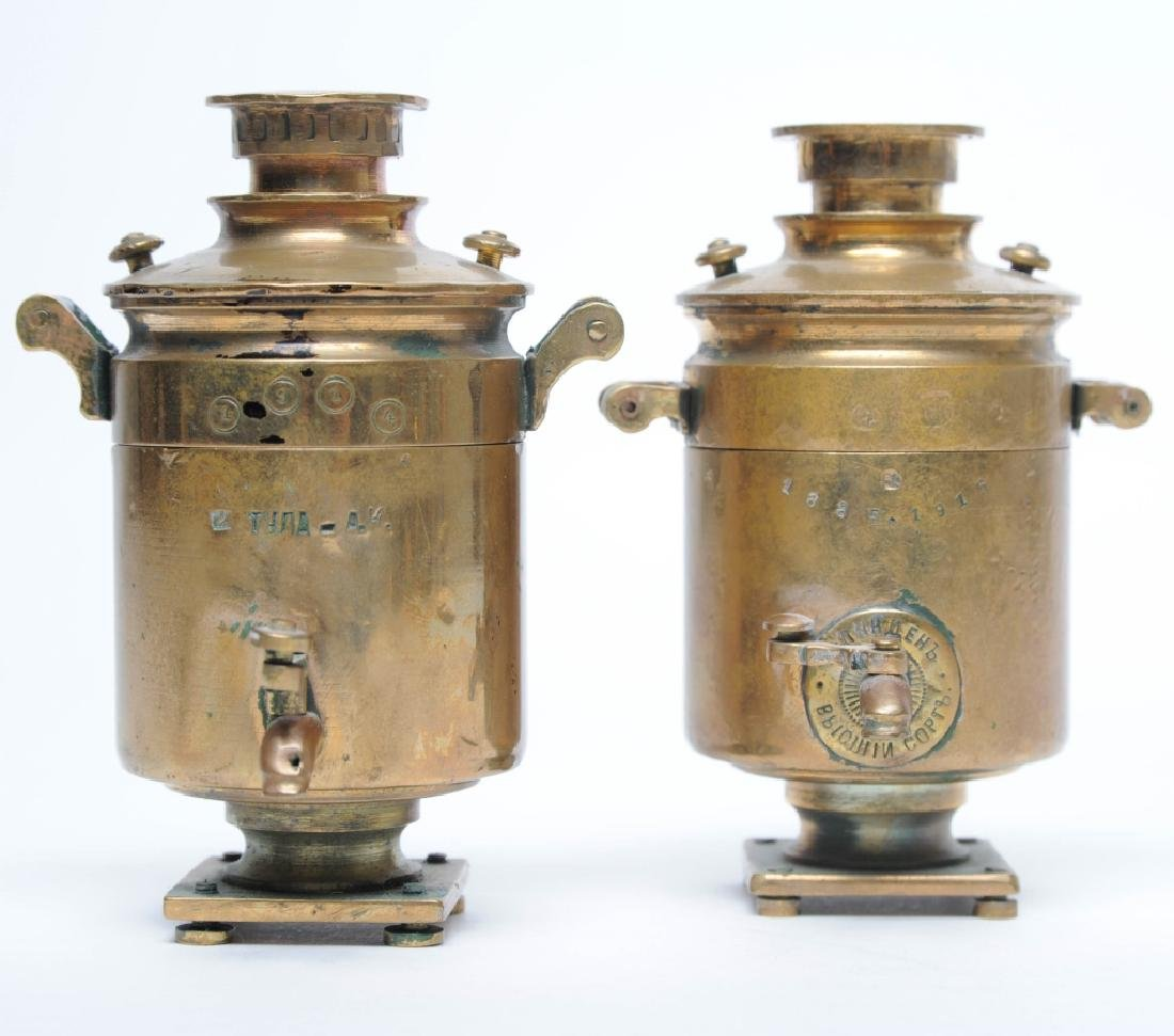 PAIR Russian Trench Folk Art Brass Samovar Lighter