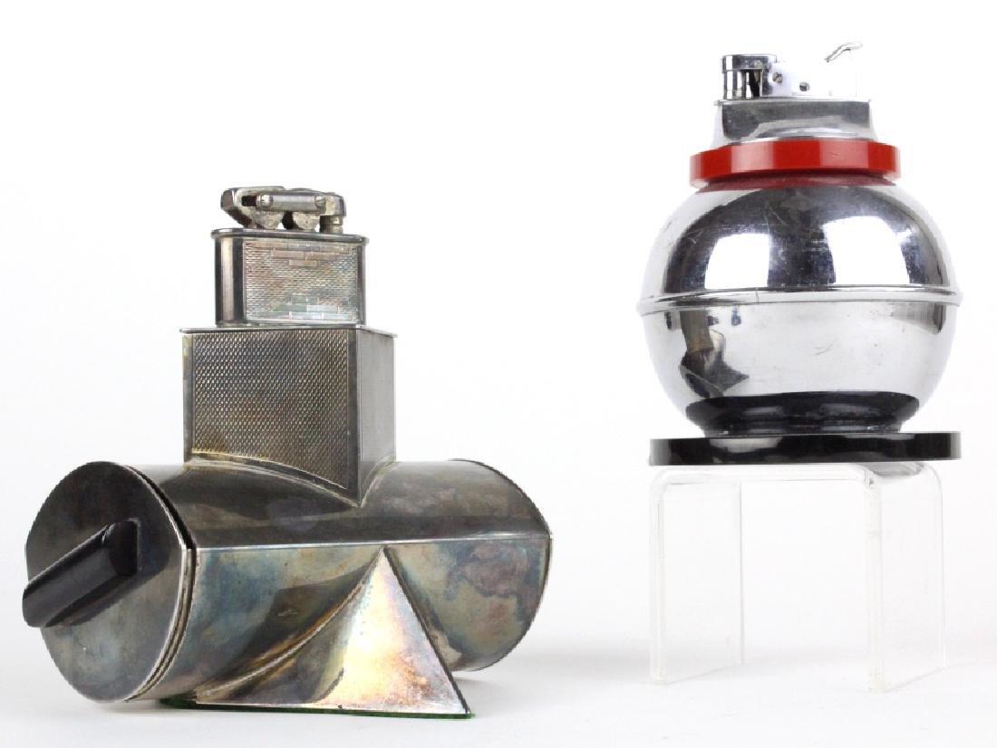 2pc ART DECO Silver Chrome Plated Bakelite Lighter