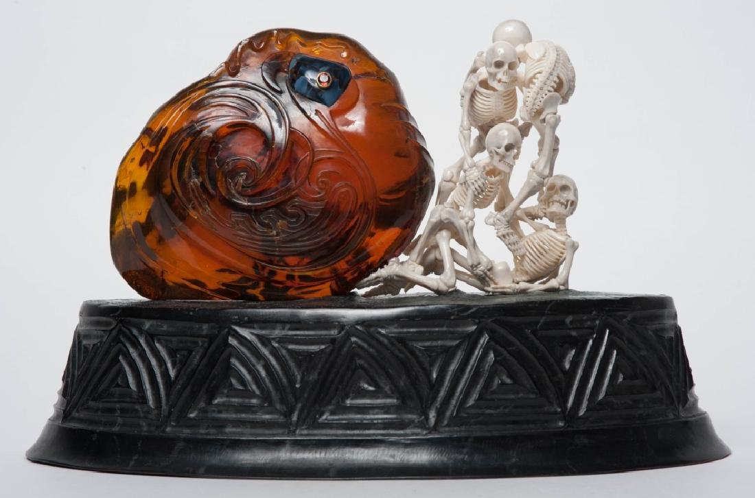 ART DECO Amber Skeleton Bronze Sculpture Circa1931