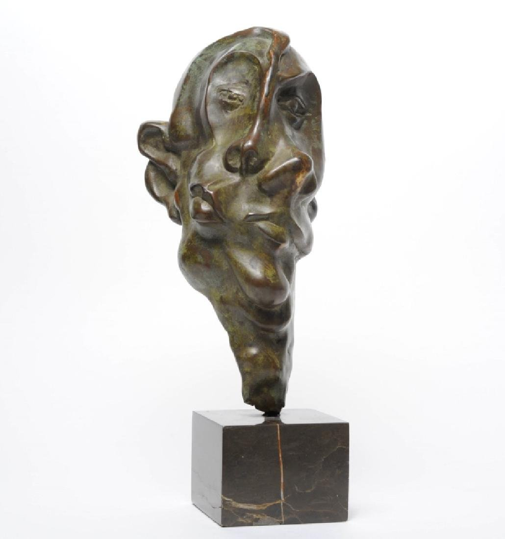 Modern Figural Abstract Two Faced Bronze Sculpture