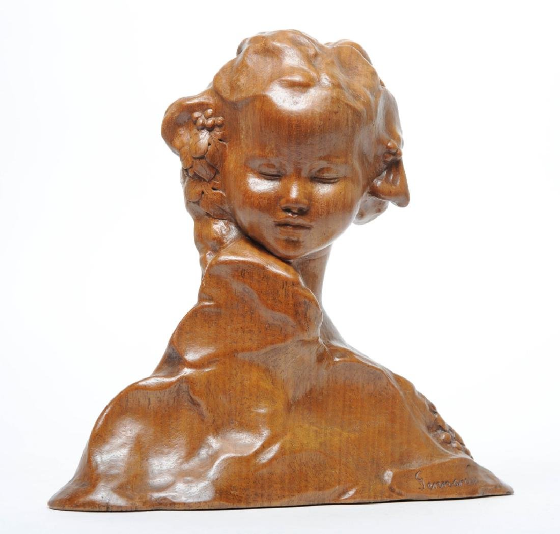 Amedeo Gennarelli Art Deco Wood Bust of Young Girl