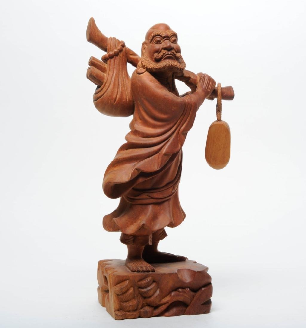 Hand Carved Wood Statue of Traveling Buddhist Monk