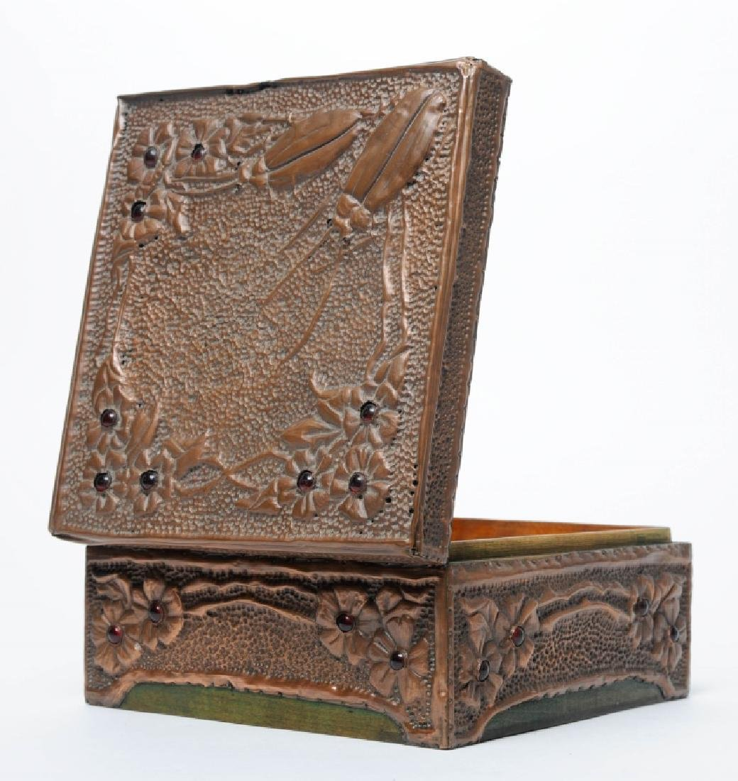 Arts and Crafts Embossed Copper Wood Keepsake Box