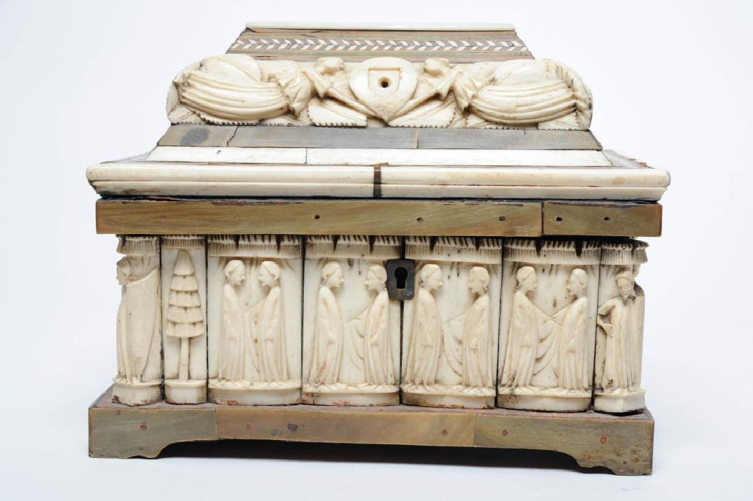 Antique Folk Art Figural Carved Bone Reliquary BOX