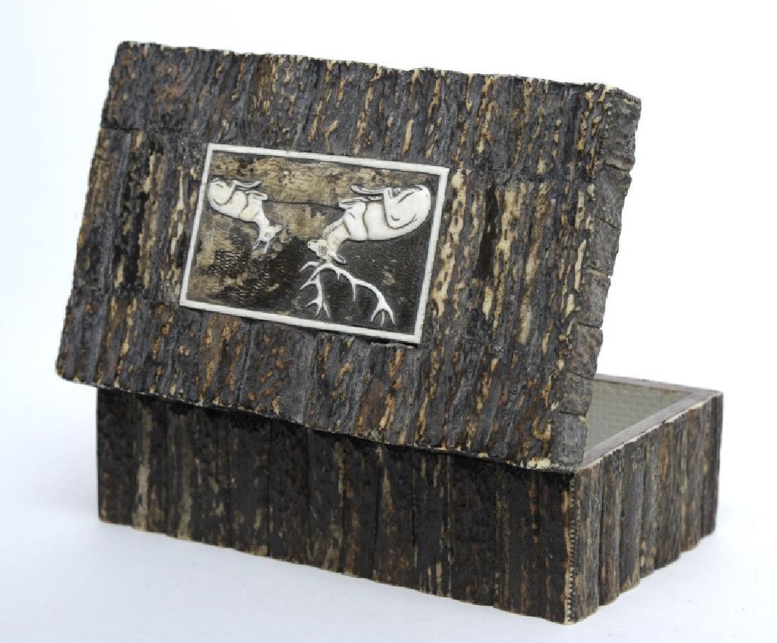 Antique Hand Carved Deer Antler Desk Casket Box