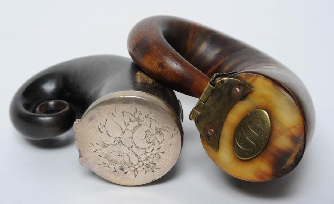 Pair 18c Scottish Rams Horn Snuff Mull Powder Box