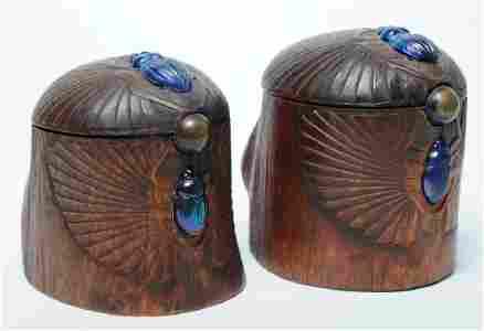 PAIR of Louis C Tiffany Studios Scarab Humidor Box