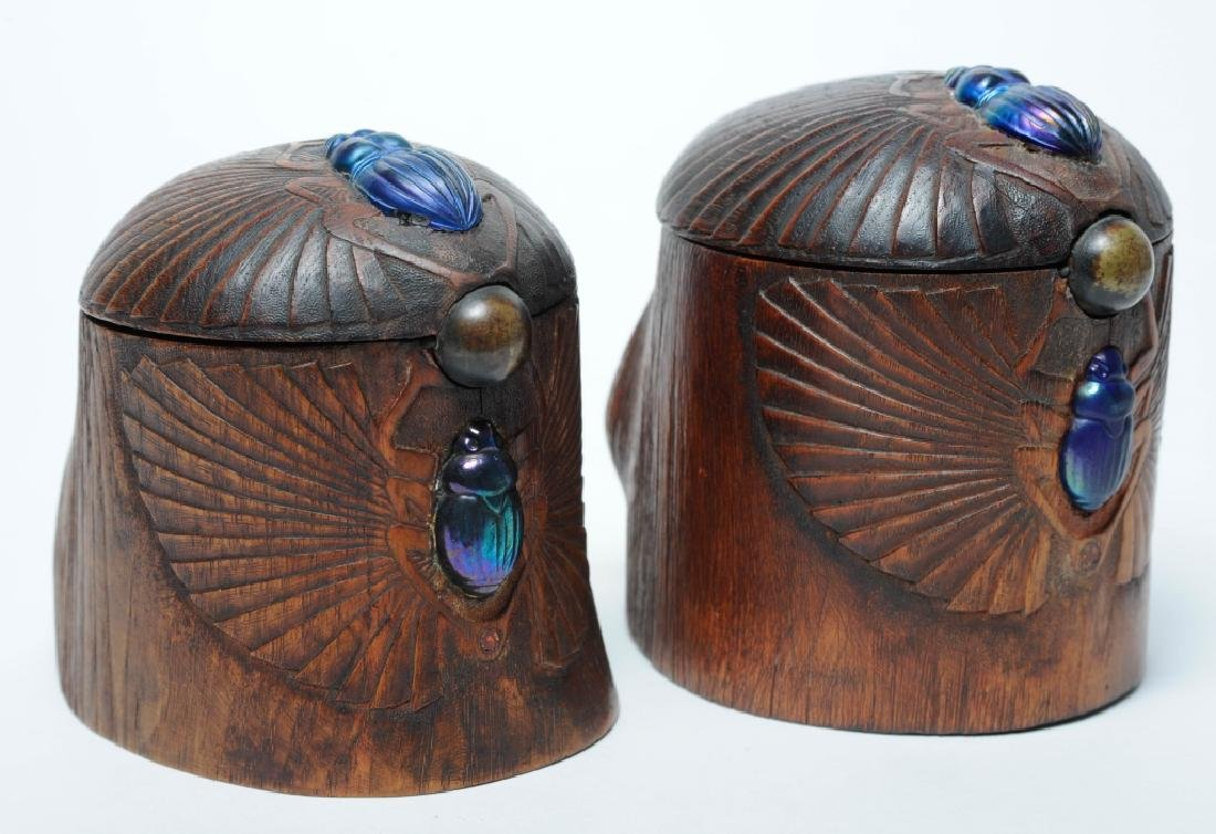 PAIR of Louis C Tiffany Studios Scarab Humidor Box