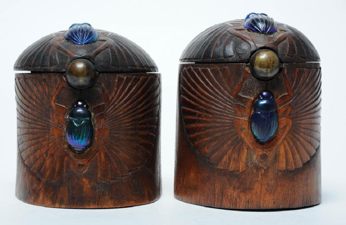 PAIR of Louis C Tiffany Studios Scarab Humidor Box - 4