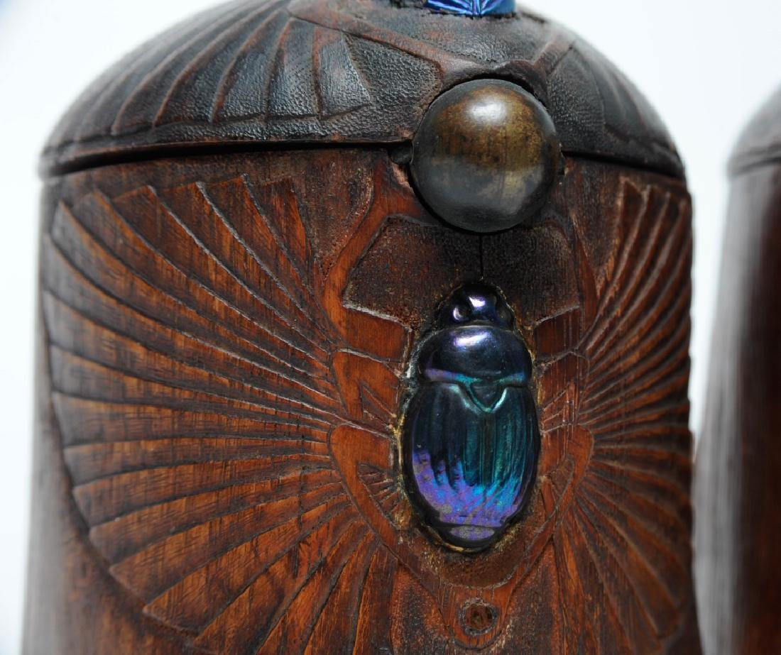 PAIR of Louis C Tiffany Studios Scarab Humidor Box - 5
