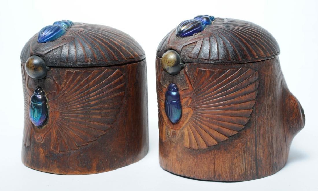 PAIR of Louis C Tiffany Studios Scarab Humidor Box - 9