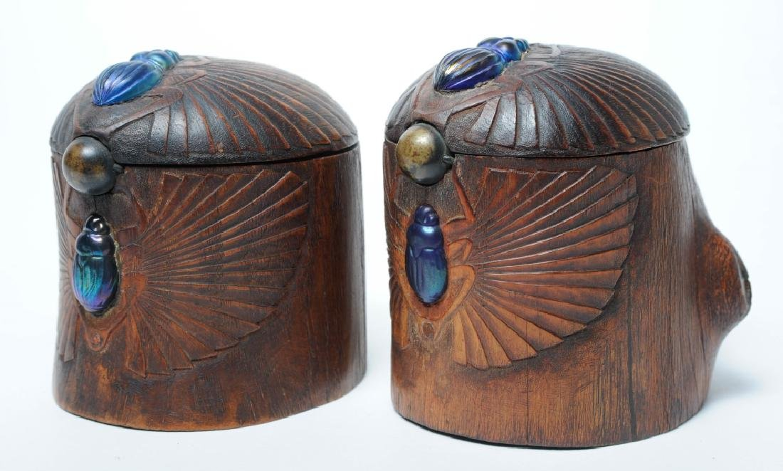 PAIR of Louis C Tiffany Studios Scarab Humidor Box - 9