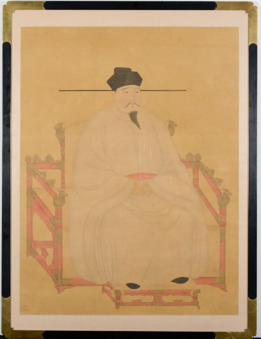 Antique Chinese Seated Ancestor Portrait Painting