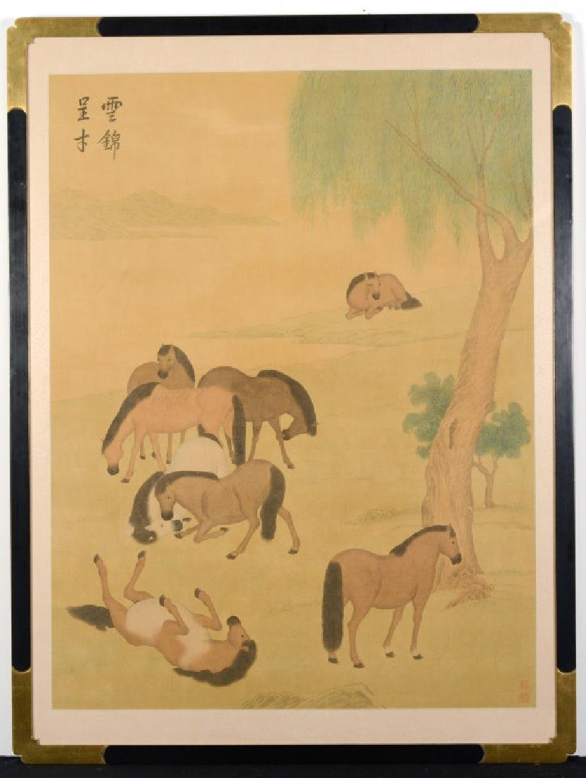 Antique Chinese Watercolor Landscape w Horses