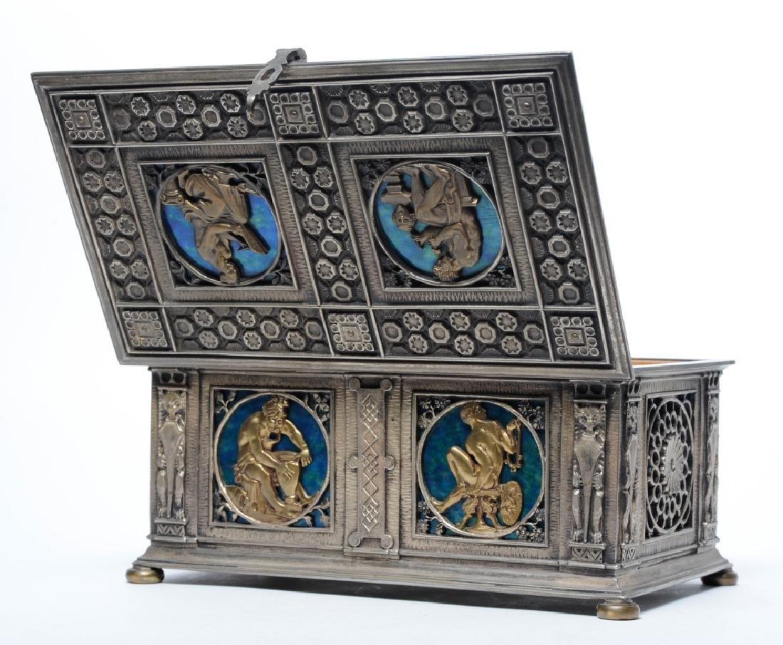 Oscar Bach Silvered Bronze Humidor Box w Enamel