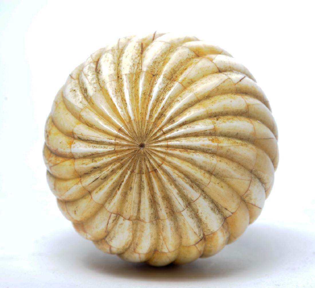 Folk Art Sailor Style Carved Bone Tile Swirl Ball