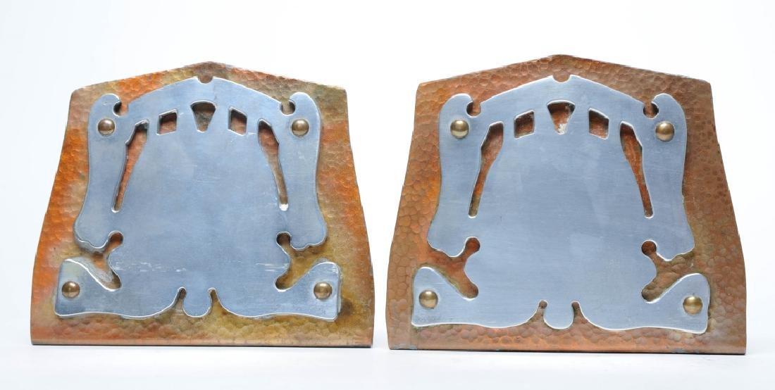 PAIR Hammered Copper Arts & Crafts Decor Bookends