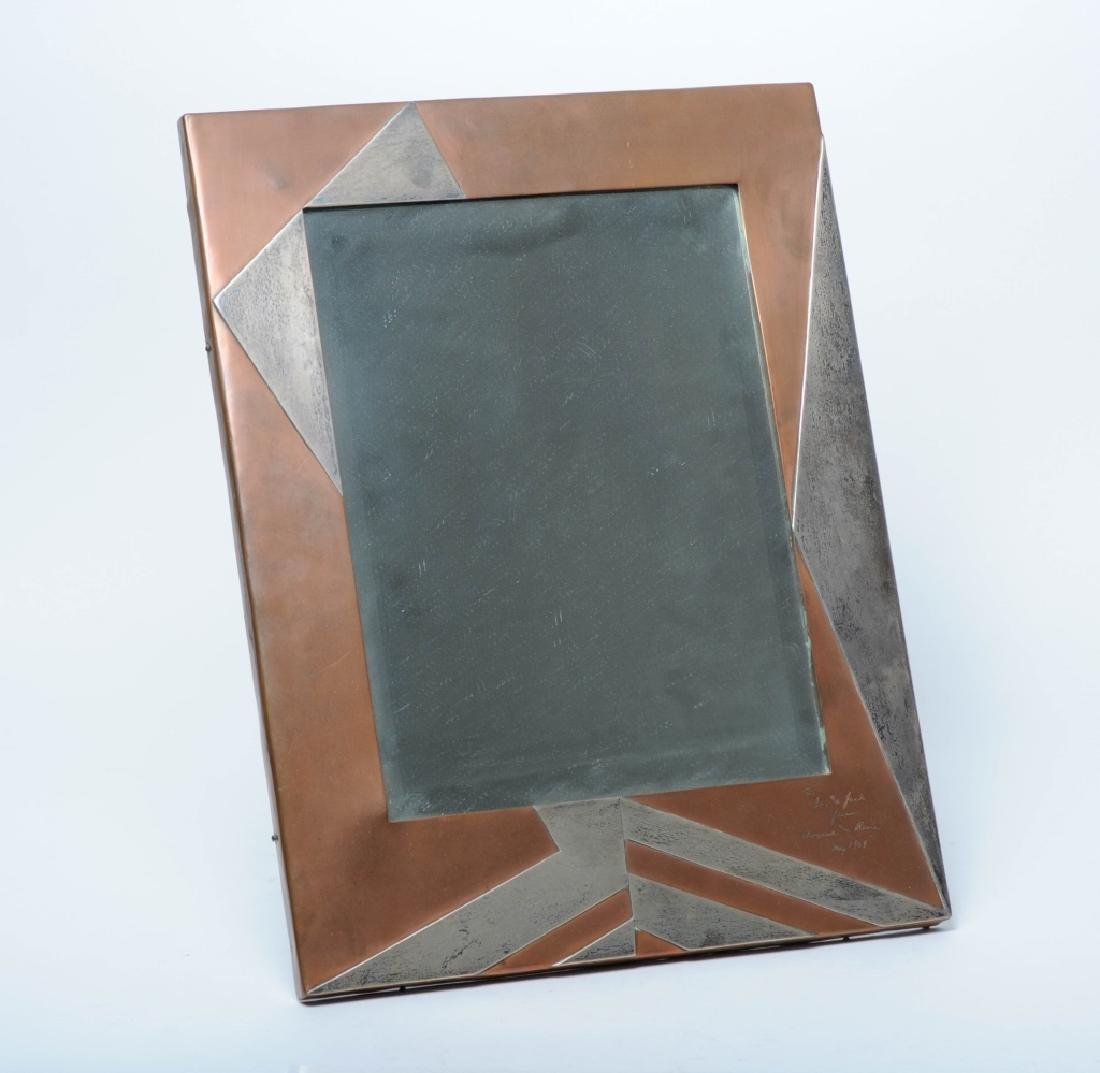 Large Art Deco Moderne Mixed Metals Picture Frame