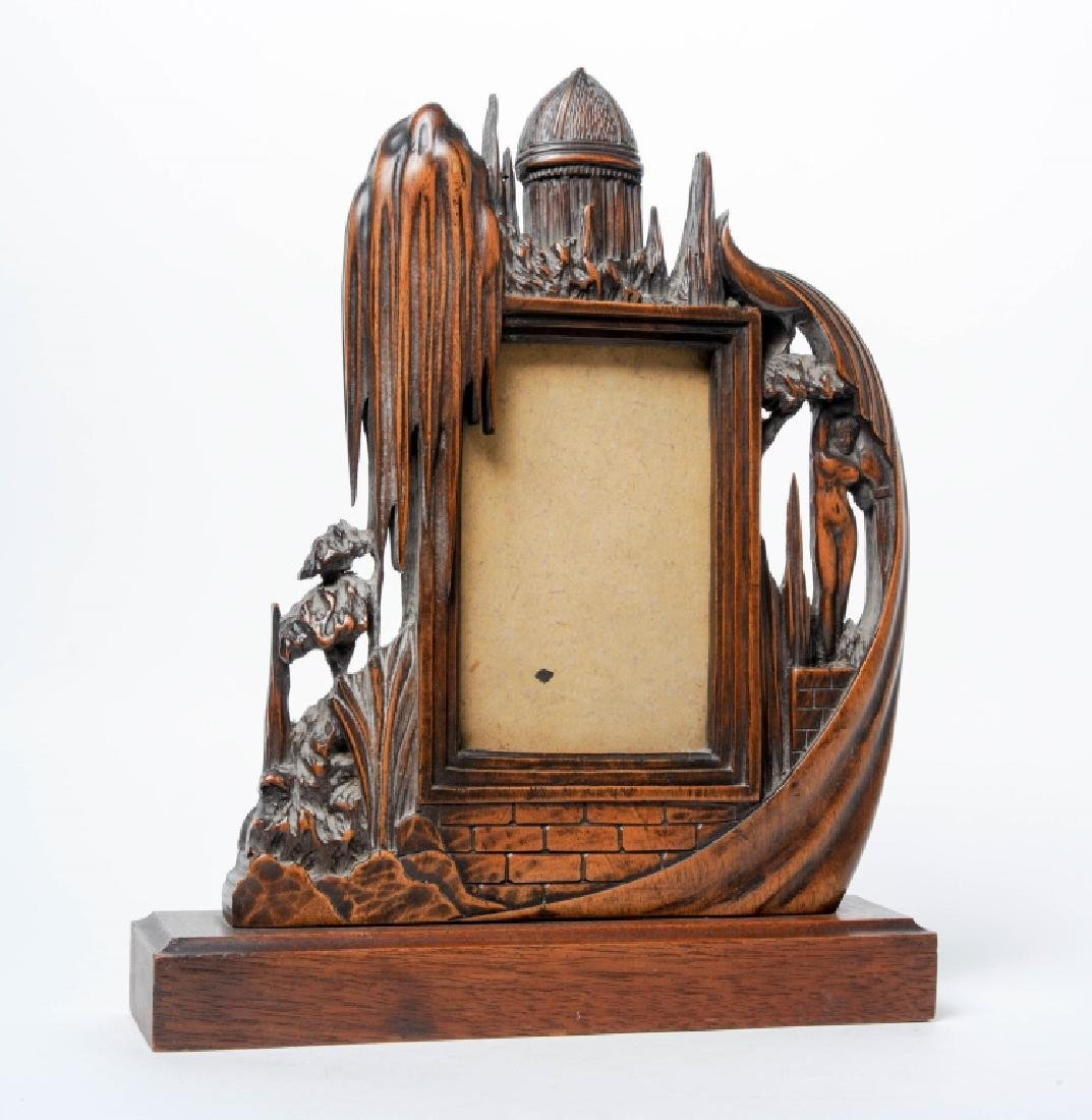 Phenomenal Carved Wood Figural Picture Photo Frame