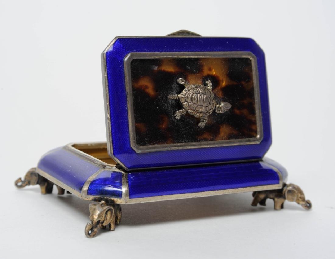 "Austrian Sterling Silver Elephant Enameled 3"" Box"