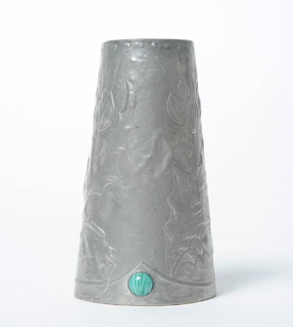 Art Nouveau Miniature Reticulated Pewter Bud Vase