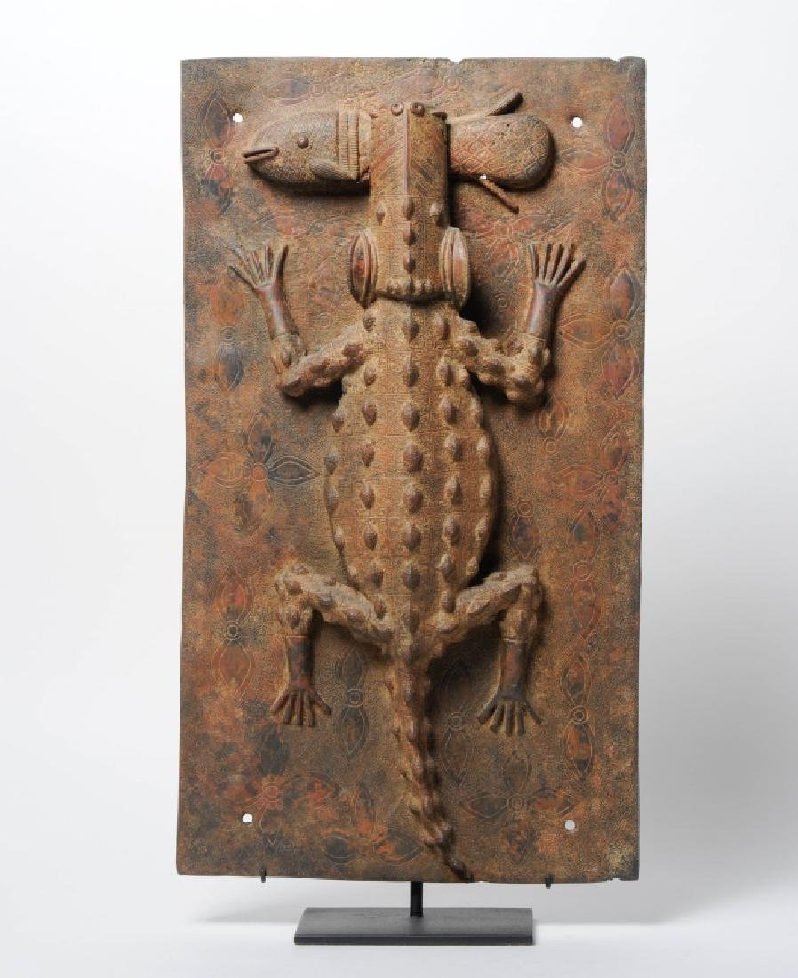 African Benin Cast Bronze Crocodile Plaque w Stand