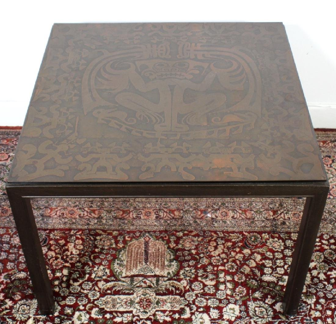 Signed Mid Century Modern Italian Inlay Side Table