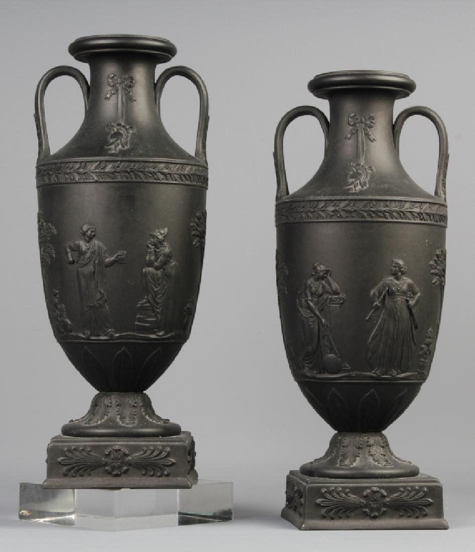 Pair WEDGWOOD Black Basalt Urn Mantle Vases FINE