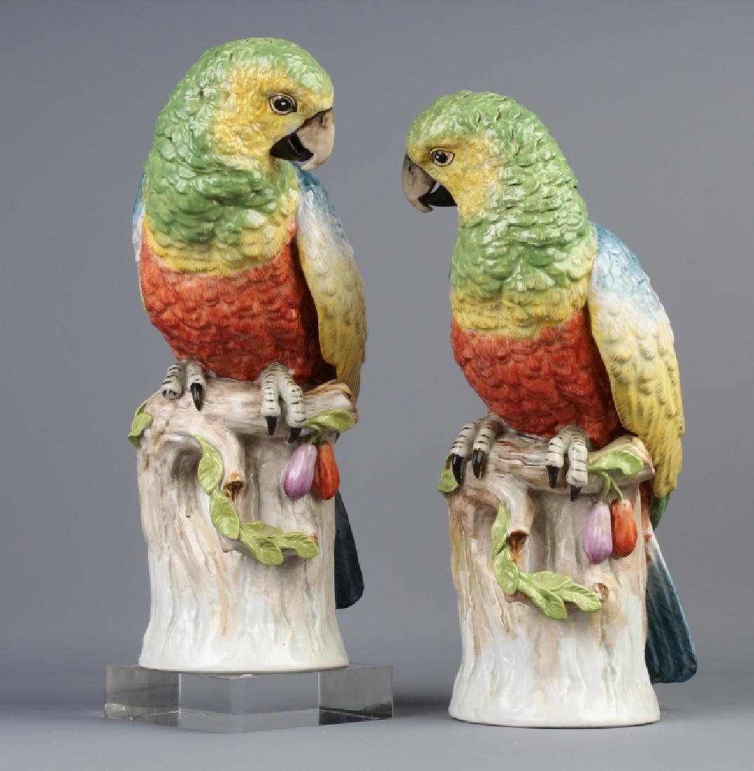 Pair Dresden Porcelain Exotic Parrot Bird Figures