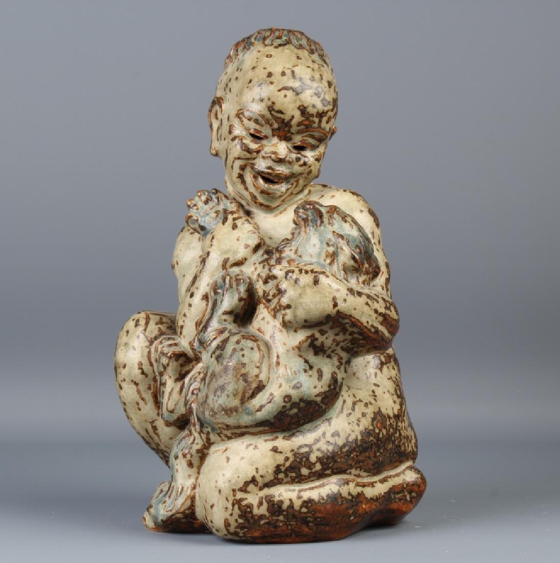 Knud Kyhn Royal Copenhagen Stoneware Child w Cub