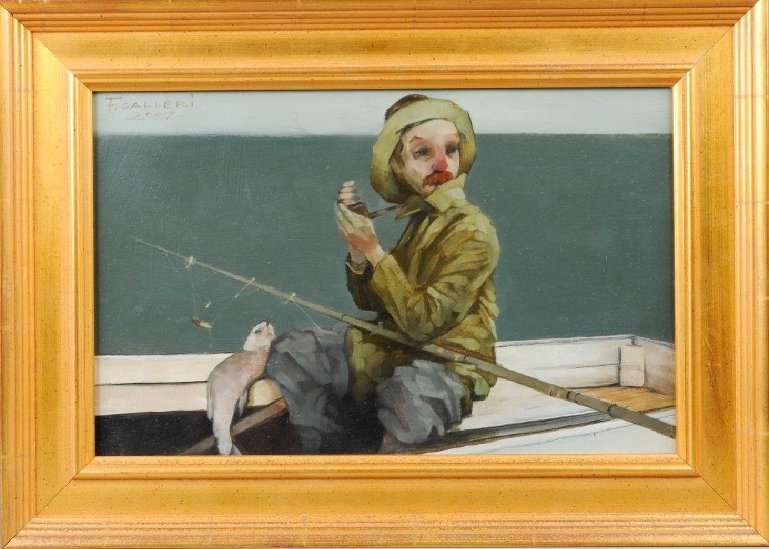 Fred Calleri (1964-) Fisherman Oil Painting LISTED