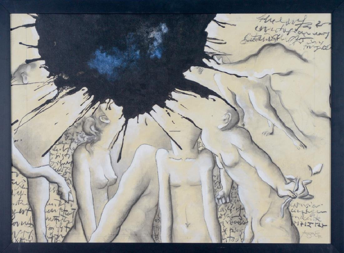 Signed ARAGON Surrealist Oil On Canvas Painting