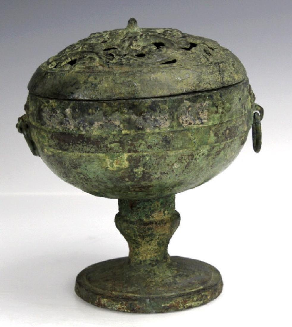 Warring States Bronze Pedestal Incense Vessel