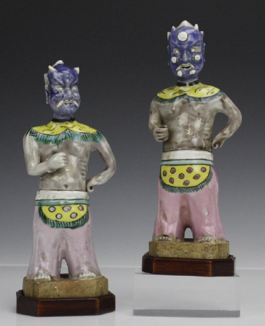 Pair Chinese Red Pottery Figures of Dervishes