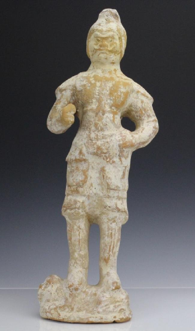 Chinese Tang Dynasty Pottery Warrior Tomb Figure