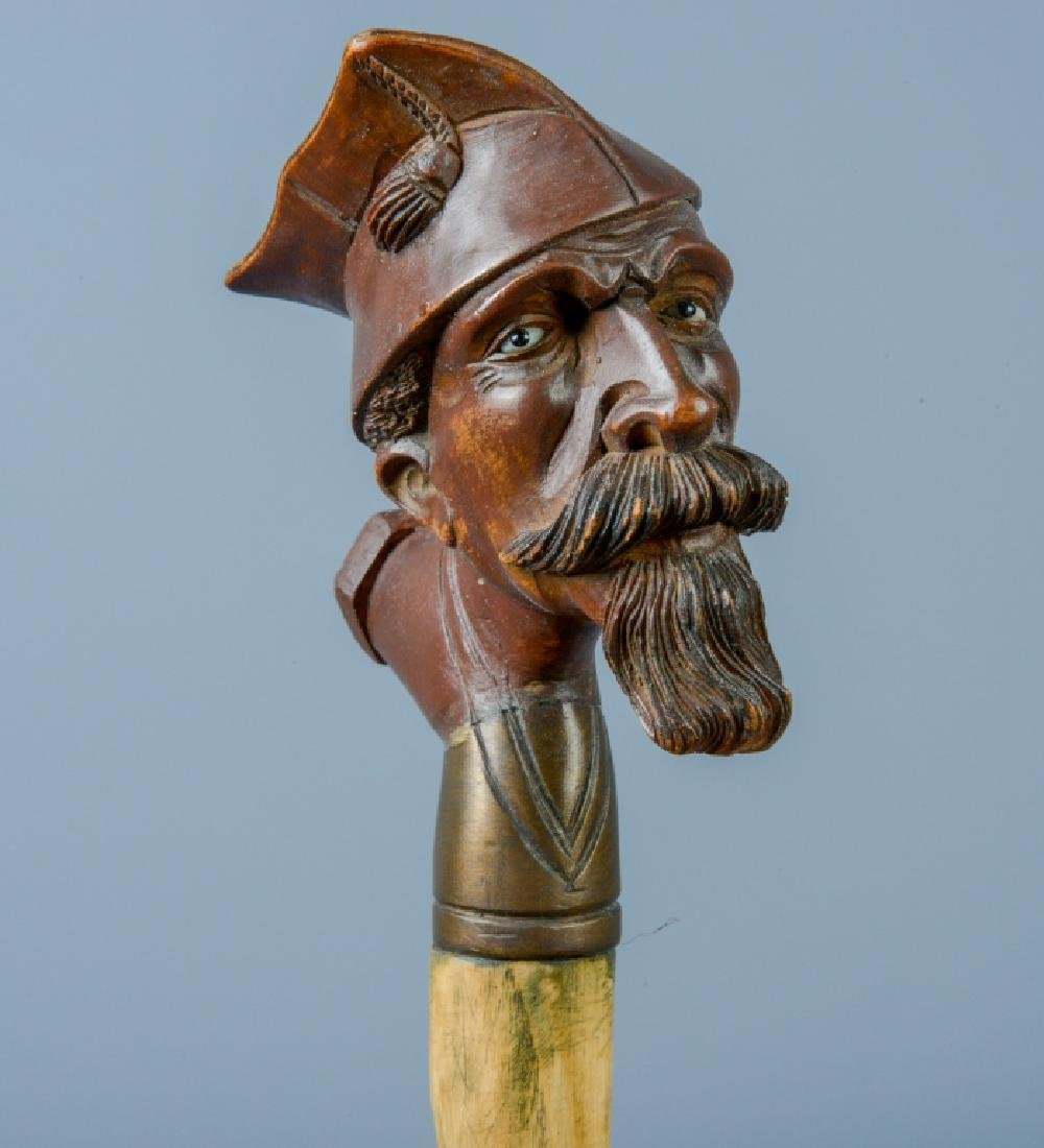Designer Signed Antique Carved Wood Soldier Cane